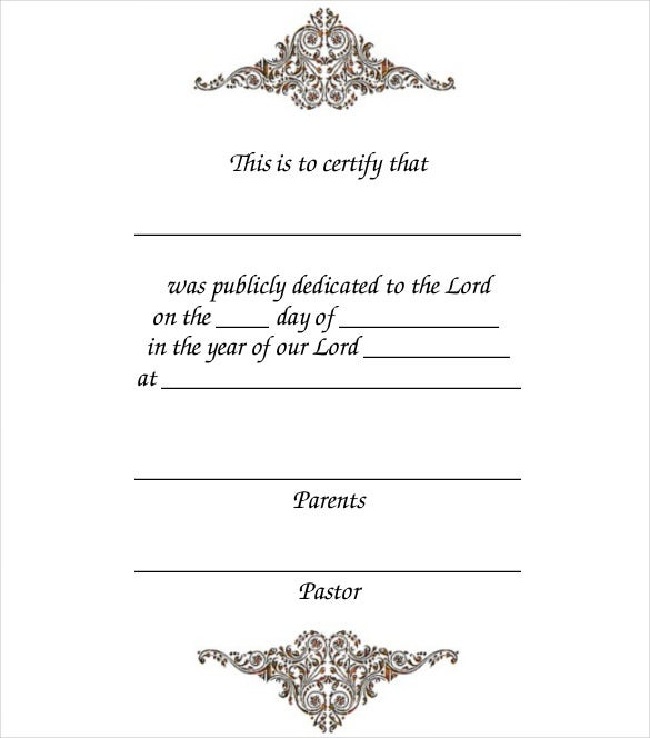 printable baby dedication certificate template