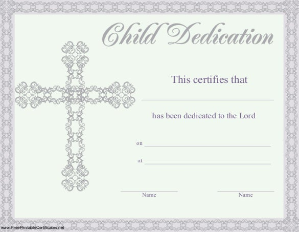 child dedication certificate template free pdf