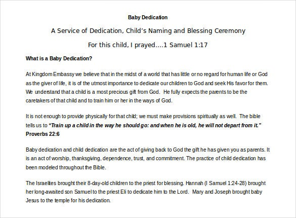 Baby Dedication Certificate Template 19 Free Word PDF – Naming Certificates Free Templates