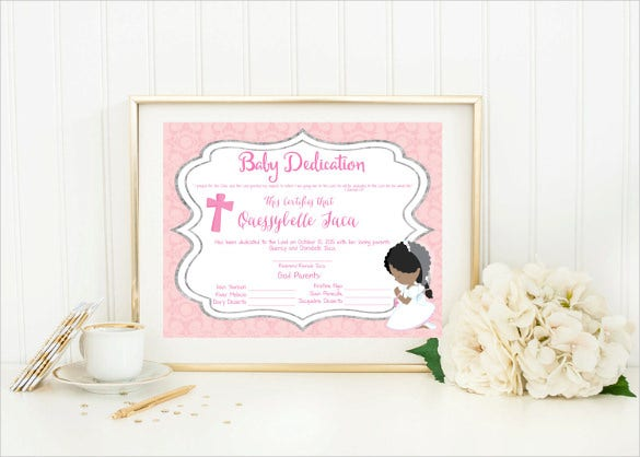 beautiful baby dedication certificate template