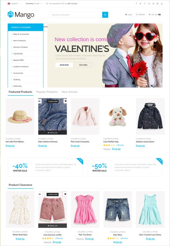 responsive children clothes woocommerce theme