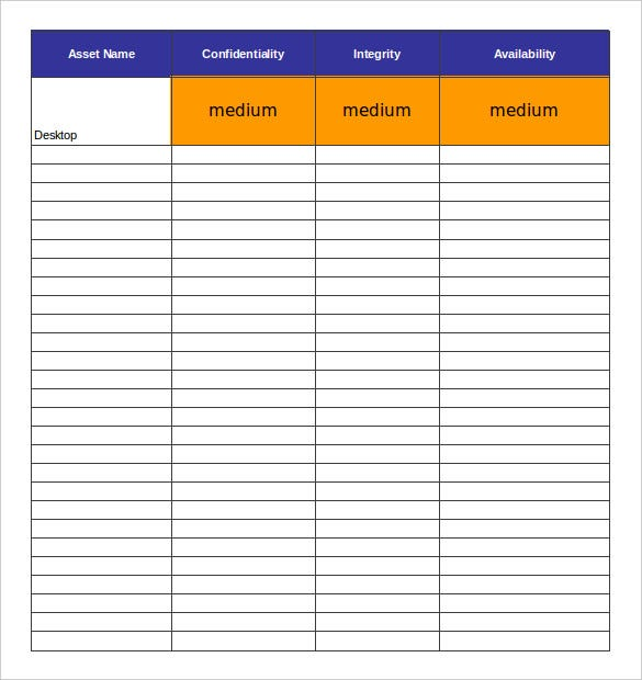 Asset Inventory Templates  Free Sample Example Format