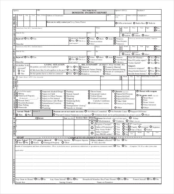 New York State Domestic Incident Report Template  Police Report Format Template