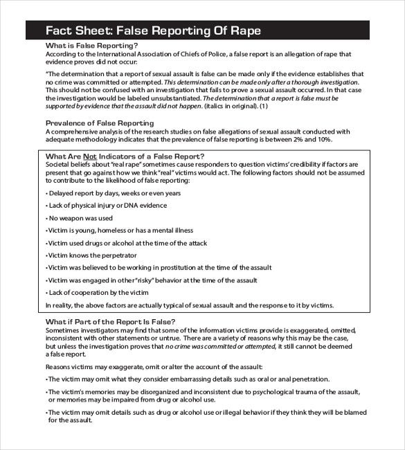 Case Report Template. False Reporting Of Rape Sample Police Report