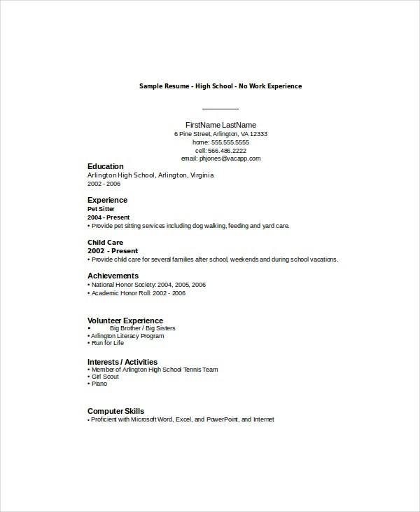 Resume With No Work Experience. Sample Resume For High School