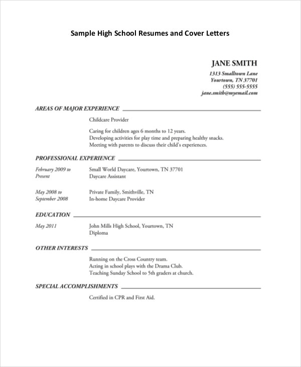 Job Resume For High School Student  Free High School Resume Template