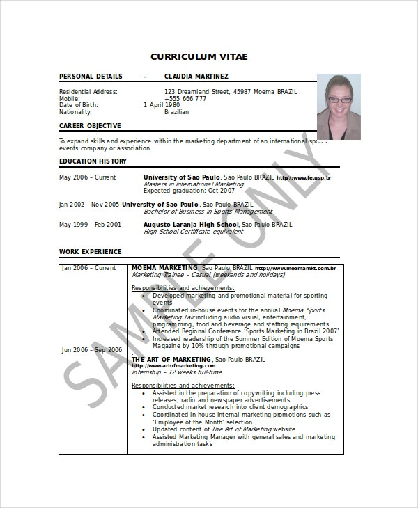 High-School-Resume-For-Sports-Management-Student