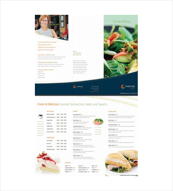 free pdf menu template download
