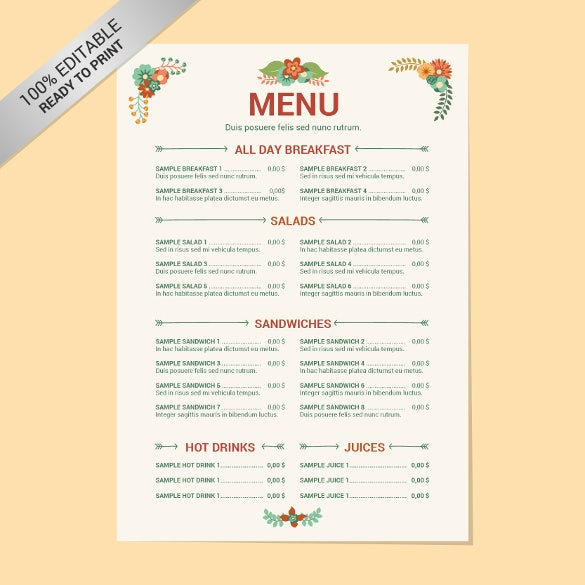 Charming Editable Restaurant Menu Free Template Download To Free Word Menu Template