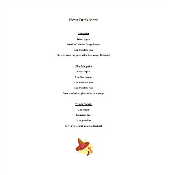 fiesta drink free menu download