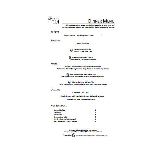 Dinner Menu Free Template Download  Free Menu Templates For Word