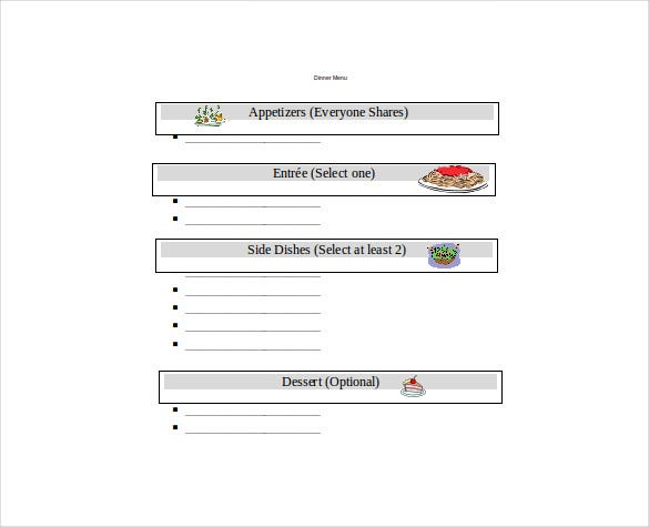 dinner blank menu free document template download