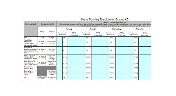 free menu planning template download
