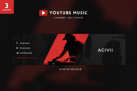 music youtube banner art template