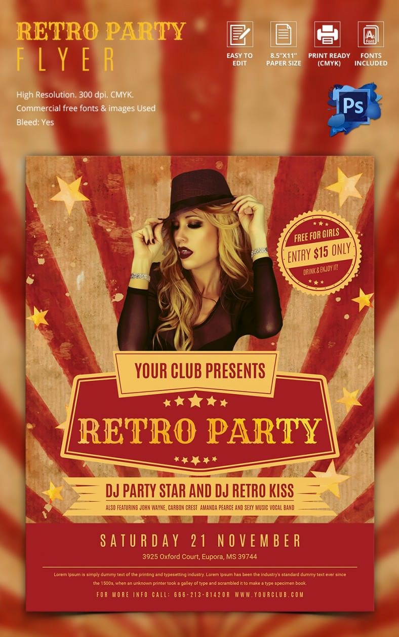 retro style flyer template 43 psd format stunning retro party flyer template
