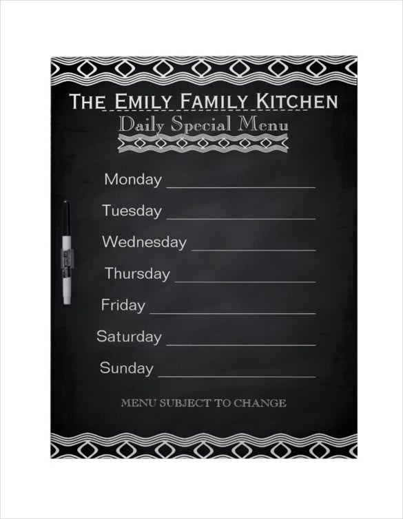 personalized weekly dinner menu black chalkboard template download
