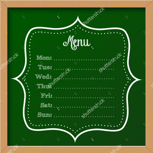 vector illustration blank weekly menu template download