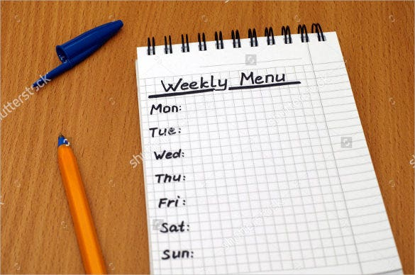 words weekly menu written on white note pad template download