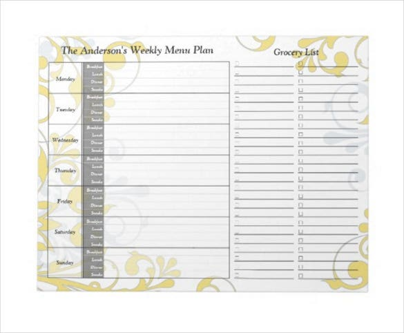yellow floral weekly personalized menu planner notepad template download