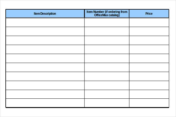Office Supply Request Inventory Template Example Format