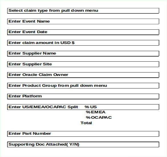 supplier claims submission inventory template excel