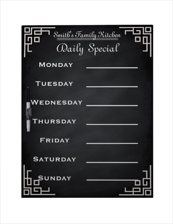 blackboard chalkboard weekly family dinner menu template download