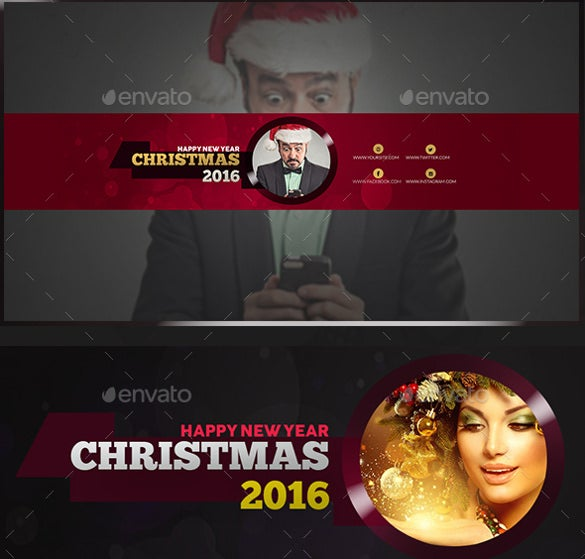christmas youtube banner art template