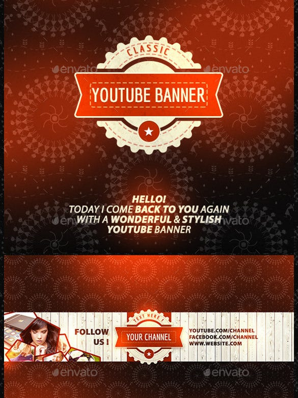 classic youtube banner art template