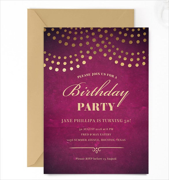 Elegant 50th Birthday Party Email Invite