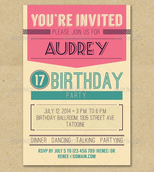 Birthday Invitation Email Template Free PSD EPS Format - Retro birthday invitation template