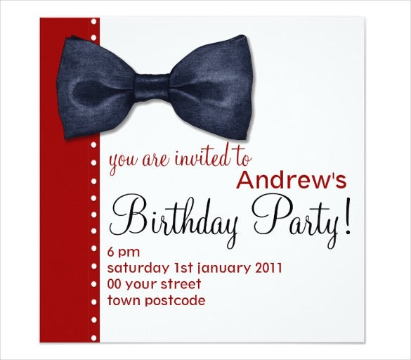 Birthday invitation email template 23 free psd eps format black bow tie birthday email invitation filmwisefo