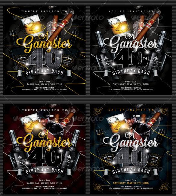 gangster style birthday invitation