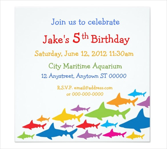 Color Sharks Birthday Email Invitation  How To Word A Birthday Invitation
