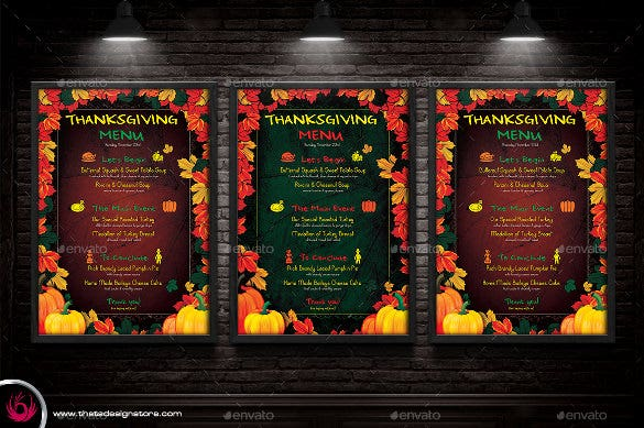 thanksgiving menu template vector eps download