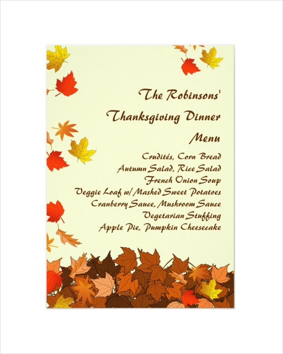 25+ Thanksgiving Menu Templates – Free Sample, Example Format
