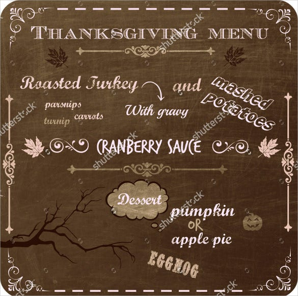 thanksgiving dinner menu written on a vintage chalkboard template download