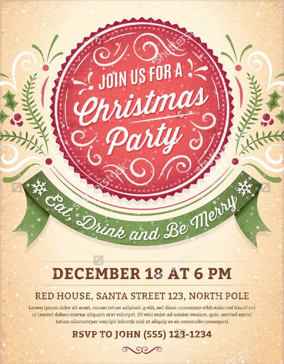 Awesome Christmas Party Invitation Template Download  Christmas Invite Template Free