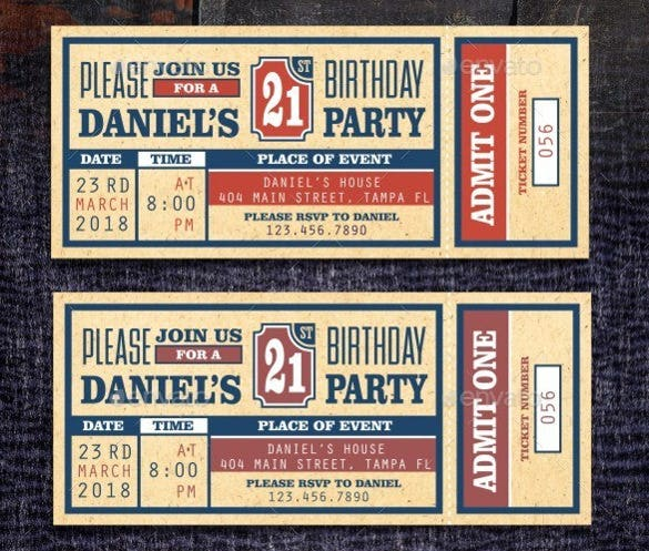 Photoshop Ticket Invitation Template Download