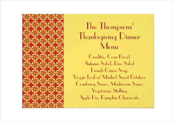 classical pattern thanksgiving dinner menu card template download