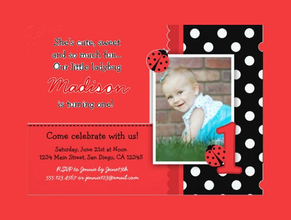 red ladybug 1st birthday invitation template