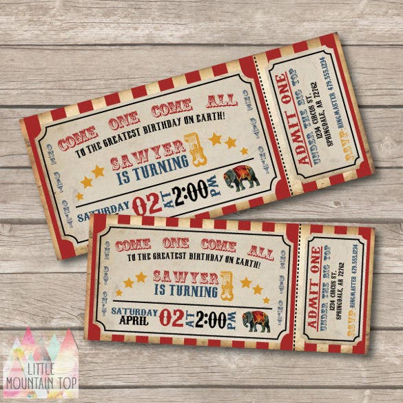 vintage inspired circus invitation