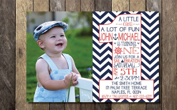 nautical first birthday invitation template