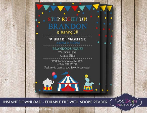 handmade circus invitation template