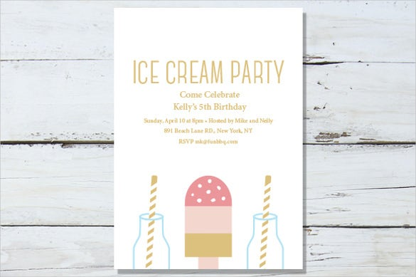 ice cream party invitation template download