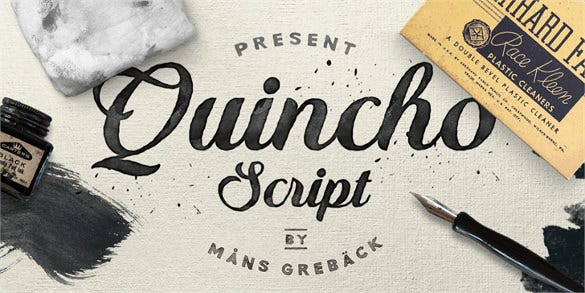 quincho script personal use font free download