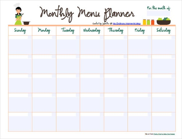 10 monthly menu templates free sample example format for Monthly dinner calendar template