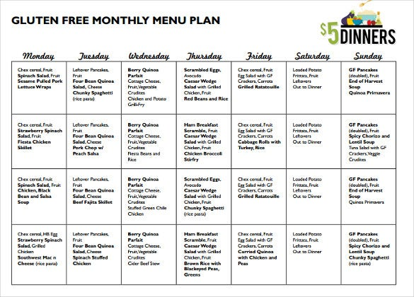 monthlymenu gluten free pdf template download
