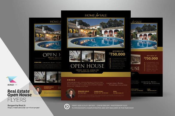 3 various real estate open house flyers