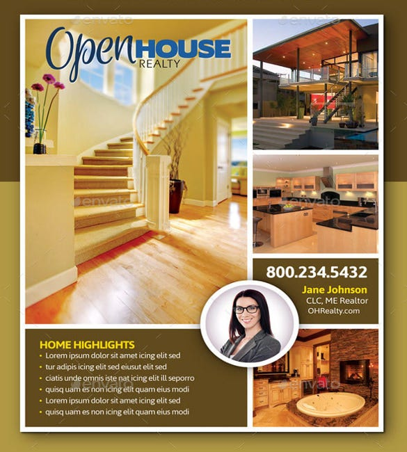 bold design open house flyers
