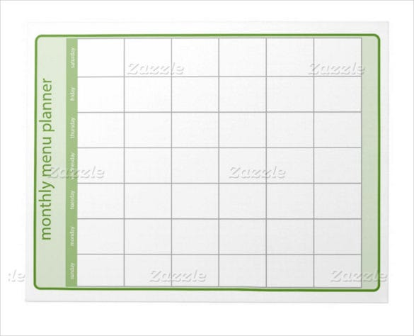 monthly menu planner notepad template download
